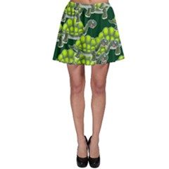 Seamless Tile Background Abstract Turtle Turtles Skater Skirt