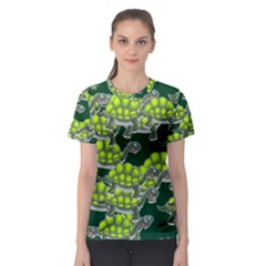 Seamless Tile Background Abstract Turtle Turtles Women s Sport Mesh Tee