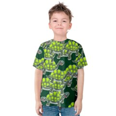 Seamless Tile Background Abstract Turtle Turtles Kids  Cotton Tee