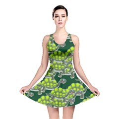 Seamless Tile Background Abstract Turtle Turtles Reversible Skater Dress