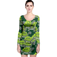 Seamless Tile Background Abstract Turtle Turtles Long Sleeve Bodycon Dress