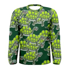 Seamless Tile Background Abstract Turtle Turtles Men s Long Sleeve Tee