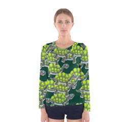 Seamless Tile Background Abstract Turtle Turtles Women s Long Sleeve Tee