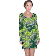 Seamless Tile Background Abstract Turtle Turtles Long Sleeve Nightdress