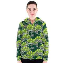 Seamless Tile Background Abstract Turtle Turtles Women s Zipper Hoodie