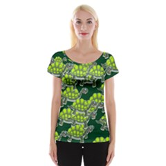 Seamless Tile Background Abstract Turtle Turtles Women s Cap Sleeve Top