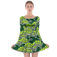 Seamless Tile Background Abstract Turtle Turtles Long Sleeve Skater Dress