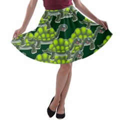 Seamless Tile Background Abstract Turtle Turtles A Line Skater Skirt