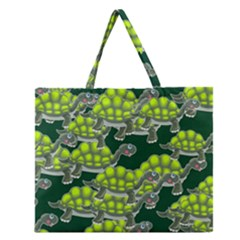 Seamless Tile Background Abstract Turtle Turtles Zipper Large Tote Bag