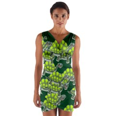 Seamless Tile Background Abstract Turtle Turtles Wrap Front Bodycon Dress