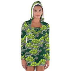 Seamless Tile Background Abstract Turtle Turtles Women s Long Sleeve Hooded T Shirt