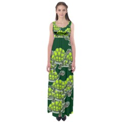 Seamless Tile Background Abstract Turtle Turtles Empire Waist Maxi Dress