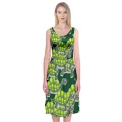 Seamless Tile Background Abstract Turtle Turtles Midi Sleeveless Dress