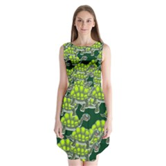 Seamless Tile Background Abstract Turtle Turtles Sleeveless Chiffon Dress