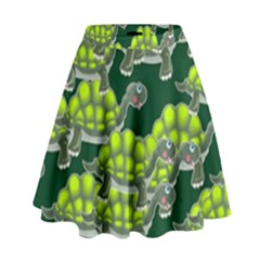 Seamless Tile Background Abstract Turtle Turtles High Waist Skirt