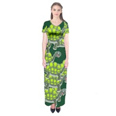 Seamless Tile Background Abstract Turtle Turtles Short Sleeve Maxi Dress
