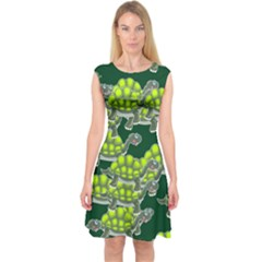 Seamless Tile Background Abstract Turtle Turtles Capsleeve Midi Dress