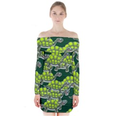 Seamless Tile Background Abstract Turtle Turtles Long Sleeve Off Shoulder Dress