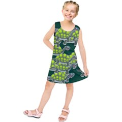 Seamless Tile Background Abstract Turtle Turtles Kids  Tunic Dress
