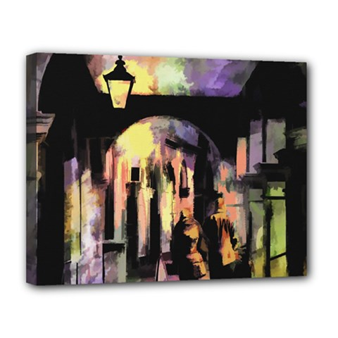 Street Colorful Abstract People Canvas 14  X 11