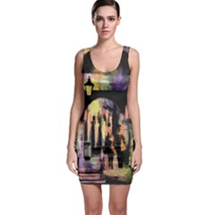 Street Colorful Abstract People Sleeveless Bodycon Dress
