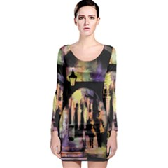 Street Colorful Abstract People Long Sleeve Bodycon Dress