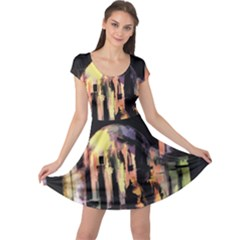 Street Colorful Abstract People Cap Sleeve Dresses