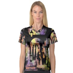 Street Colorful Abstract People Women s V Neck Sport Mesh Tee