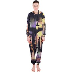 Street Colorful Abstract People Hooded Jumpsuit (ladies)