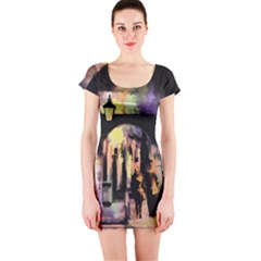 Street Colorful Abstract People Short Sleeve Bodycon Dress
