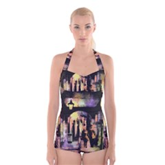 Street Colorful Abstract People Boyleg Halter Swimsuit