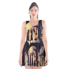 Street Colorful Abstract People Scoop Neck Skater Dress