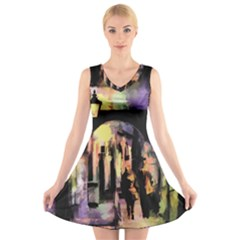 Street Colorful Abstract People V Neck Sleeveless Skater Dress