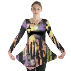 Street Colorful Abstract People Long Sleeve Tunic