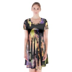 Street Colorful Abstract People Short Sleeve V Neck Flare Dress