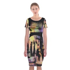 Street Colorful Abstract People Classic Short Sleeve Midi Dress