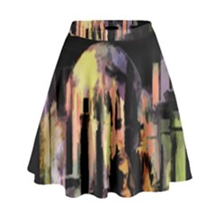 Street Colorful Abstract People High Waist Skirt