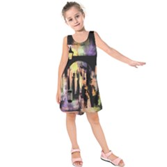 Street Colorful Abstract People Kids  Sleeveless Dress