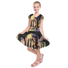 Street Colorful Abstract People Kids  Short Sleeve Dress
