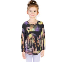 Street Colorful Abstract People Kids  Long Sleeve Tee