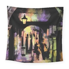 Street Colorful Abstract People Square Tapestry (large)