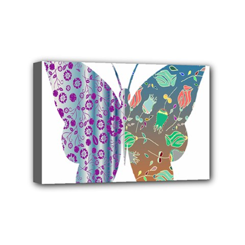 Vintage Style Floral Butterfly Mini Canvas 6  X 4