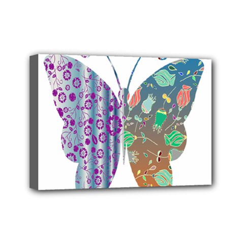 Vintage Style Floral Butterfly Mini Canvas 7  X 5