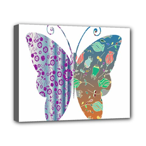 Vintage Style Floral Butterfly Canvas 10  X 8
