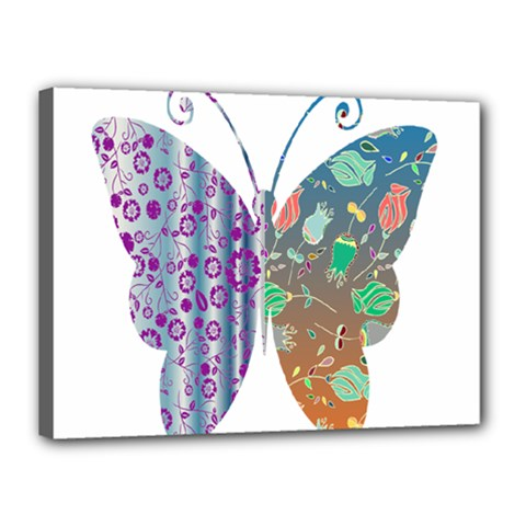 Vintage Style Floral Butterfly Canvas 16  X 12