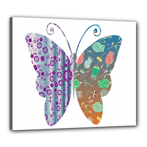 Vintage Style Floral Butterfly Canvas 24  X 20