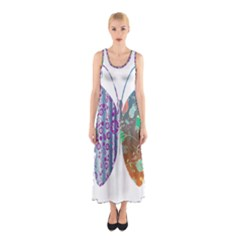 Vintage Style Floral Butterfly Sleeveless Maxi Dress