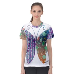 Vintage Style Floral Butterfly Women s Sport Mesh Tee