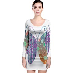 Vintage Style Floral Butterfly Long Sleeve Bodycon Dress