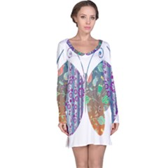 Vintage Style Floral Butterfly Long Sleeve Nightdress